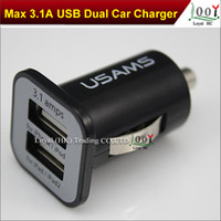 Wholesale 12pcs USAMS A mha USB Dual Car Charger V Dual Port car Chargers for iPad iPhone S iPod iTouch HTC Samsung