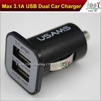 USAMS 3.1A 3100mha USB double chargeur de voiture 5V Dual 2 Port chargeurs de voiture pour iPad iPhone 6S HTC Samsung S6 S7 Bord