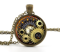 Pendant Necklaces cogs - Steampunk Necklace Pendant Vintage Bronze Compass Gears Cog Jewelry Gift Bag