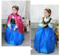 TuTu Winter Pleated 2014 new Frozen Anna dress red cloak for children girl frozen princess dress anna's dresses Movie Costume cosplay