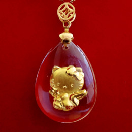 wholesale jewelry crystal and 24K 999 goldn cat for fashion to express love pendant lockets charms