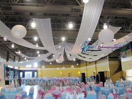 Wholesale 10 m x cm Ceiling Drape for wedding ice silk long ribbon canopy drape roof fabric wedding decoration
