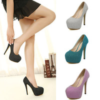 Wholesale Fashion Newest wedding bling Queen sexy Stiletto high heels Platform shoes solid candy color Pumps Black Pink Blue Silver