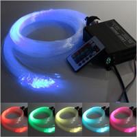 Wholesale RGB colorful LED plastic Fiber Optic Star Ceiling Kit Light mm M W RGB optical fiber Lights Engine key Remote
