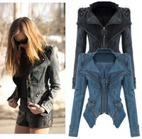 Wholesale Hot European Fashion Denim Jackets Restoration Rivets Zippers Woman Lady Suit Jackets Coats Black Green Blue S M L XL ecc1561
