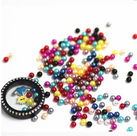 Wholesale 300pcs Mix color origami ABS simulated pearl floating charms for Floating lockets fits living memory lockets