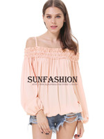 Women Polyester None shirt Free shipping2014 New Brand Style Sexy White For Summer Free Shipping Pink Off the Shoulder Pleated Loose Female Blusa De Renda