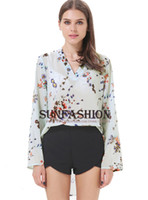 Women Polyester None shirt Free shippingSummer Spring Fashion Women's 2014 New Oversized Chiffon Tops Ladies Causal Green V Neck Long Sleeve Floral Loose