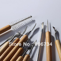 other Stainless Steel Wood New Free Shipping Wholesale Pottery Clay Sculpture Carving Tool Set Made of Wood and Meta Great 11 PCs Set on Sale