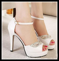 ankle strappy sandals - New hot sale Diamond Mask sexy white rhinestone sandals wedding shoes summer dress sandals stiletto heel ankle strappy prom shoes