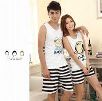 Wholesale cute cartoon couple sleeveless cotton pajamas men and women Pajama Set vest and shorts lovers sleepwear