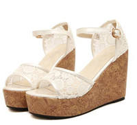 Women Wedge PU Vivi Lena White Lace sandals Wood Grain Platform wedge