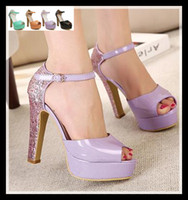 Women Chunky Heel Patent Leather Colorful Glitter Heel Patent Leather Sandals wedding dress sandals sexy women high heels prom shoes 2014 size 34 to 39