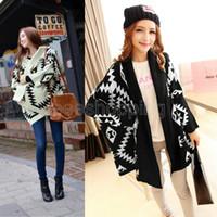 Women Alpaca Twinset Q443 Oversized Women Ladies Geometric Pattern Batwings Cardigan Outerwear s Tops Wraps Shrug Shawl Knitwear Loose Sweater