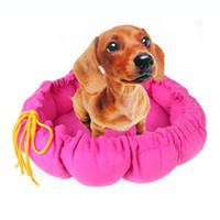 Wholesale Pet Puppy Nest Dog Bed Dog Mat Kennel PP Cotton Nest Warm House Cozy Pumpkin Mat Rose