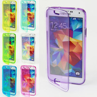 Wholesale Transparent TPU Silicone Clear Flip Case Cover Touch Screen Case For SAMSUNG Galaxy S4 S5 iphone c s DHL