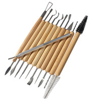 other Stainless Steel Wood New 11 pcs Pottery Clay Sculpture Carving Tool Set Made of Wood and Metal Great for Paint, Wood Models Art Projects Sculpture