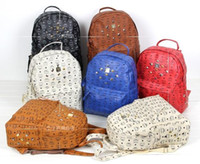 Wholesale Hot selling MCM PU leather rivet bag backpack schoolbag boys girls loves bags handbags