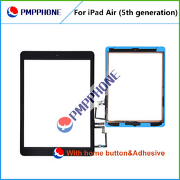 Wholesale For iPad air Touch Screen Glass Digitizer Assembly with Home Button Adhesive Glue Sticker Replacement Repair Parts Black White Free Ship