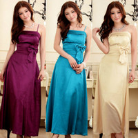 Ankle-Length clothes dropship - Sexy Ankle Length Party Dresses Spaghetti Elastic Bow New Fashion Women Bridesmaids Clothing Slim Plus Size High Quality Dropship