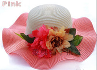 Wholesale 2014 New Fashion Stylsih Women Summer Hats Cap floppy Wide Large Brim Summer Beach Sun Hat Straw Beach caps with flower