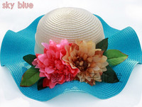 Wide Brim Hat Red Printed 2014 New Fashion Stylsih Women Summer Hats Cap floppy Wide Large Brim Summer Beach Sun Hat Straw Beach caps with beautiful flower design