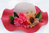 Wholesale 2014 New fashion women Wide Large Floppy Brim Summer Beach Sun Straw Beach Hat with beautiful flower many color to choose