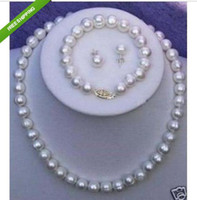 Wholesale Set of MM Real White south sea Pearl Necklace Bracelet Earring k