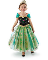 Wholesale EMS DHL Fast Frozen Dress Snow Princess Elsa Anna Dresses Girls Dresse Pageant Puff Sleeve Dress Lace Gauze Formal Dress C2393