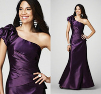 tony bowls dresses - Elegant Chic Tony Bowl Design Floor Length Beading Satin One Shoulder Slit Ruffled Pleated Evening Gown Party Prom Dresses LF33