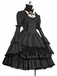 2016 Custom Hot Black Gothic Low Collar Long Sleeves Ruffles Retro Lolita Dress