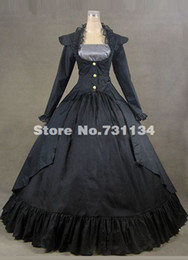 2016 Costom Vintage Black Long Sleeve Medieval Gothic Victorian Dress Civil War Victorian Ball Gowns For Halloween