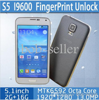 Wholesale New HDC inch S5 i9600 MTK6592 Octa Core GHZ Multi language Android HD G RAM GB ROM Cell Phones Mobile Phone Heart Rate OTG