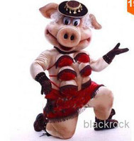 Wholesale Hot Sale Mascot Costume The high quality of Puppets Striptease Strip Pig Swinish Mascot Costume Party Outfits Fancy Dress