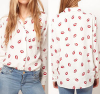 Women 100% Linen Red Lips 2014 Hot Sale Red Lips Printed Cotton Chiffon Women silk-like Full Sleeve White Shirt Tops S M L Drop Shipping