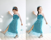 TuTu Summer Pleated Hot sale fashion Girl Frozen Elsa Princess Dress girls Elsa Cosplay dress kids costume girl Elsa payty dress From Frozen