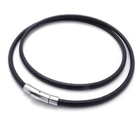 Wholesale Black Genuine Leather L Stainless Steel Buckle Clasp Multi Wrap Bracelet Necklace mm Round