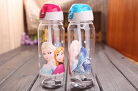 Wholesale 2014 new arrivel Children Cup Cartoon Elsa Anna PP Texture Suction Cup with drinking straw water bottle EMS