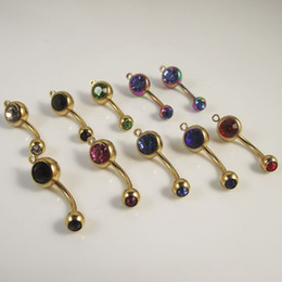 50pcs lot vertical hoop add your own charm Gold Double Crystal CZ Belly Ring mixed Colors Body Jewelry Navel ring