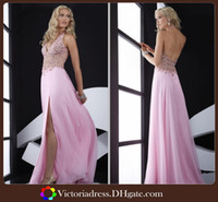 Reference Images Halter Chiffon Sexy Halter 2014 Pink Teen Prom Dresses Sexy Backless Floor Length High Front Slit Chiffon Girls Evening Party Gowns