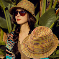 straw hats for women - Casual Women Sunhat Straw Beach Foldable Hat For Lady Summer Rainbow Sunbonnet H3137