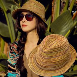 Wholesale Casual Women Sunhat Straw Beach Foldable Hat For Lady Summer Rainbow Sunbonnet H3137