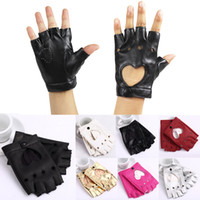 Wholesale Sexy Women Heart Cutout Gloves Half Finger Soft PU Leather Dancing Hip Hop Style Gloves GA0030
