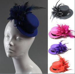 Mode femme mariée casquette de chapeau de ruban de mariage gaze de dentelle plume fleur Mini chapeaux haut fascinateur parti pinces à cheveux casquettes MILLINERY bijoux de cheveux à partir de ruban de chapellerie fabricateur