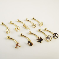 Wholesale 50pcs G eyebrow ring with Butterfly leaf dragonfly dollar cat skull peace design gold body piercing jewelry