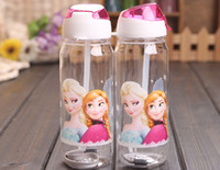 drinking water - Big discount Children Cup Cartoon Elsa anna princess PP Texture Suction Cup with drinking straw water bottle