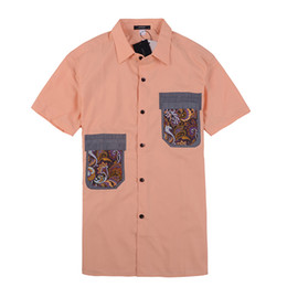 Wholesale 2014 New Arrival JOPSHOP Men s Shirt Casual Short Sleeve Patchwork Shirt MCS170