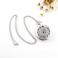 Wholesale 2014 New Arrival Quartz Fashion Jewelry Silver Color Classic Hollow out Flower Simple Chain Pendent Pocket Watch