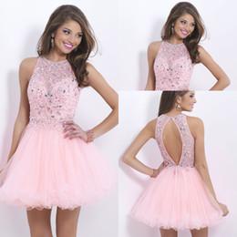 Wholesale Pink th grade graduation dresses fashion sexy short strapless pink chiffon short Homecoming dress cheap crystal
