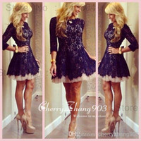 Reference Images Lace Crew Cheap Homecoming Cocktail Dresses With Crew Neck Sheer 3 4 Long Sleeve Lace Pleats Zipper Back A Line Short Mini Skirt Custom Made Dresses